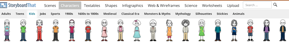 Storyboardthat: categories and subcategories